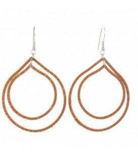 Bruine metalen oorbellen met 2 ovale hangers