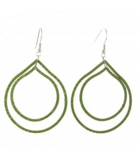 Groene metalen oorbellen met ovale hangers