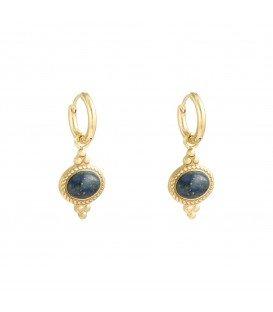 Goudkleurige oorbellen met een blauwe natuursteen