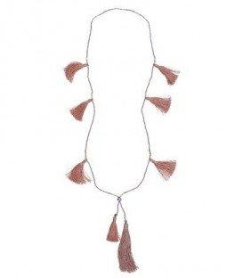 Oud-roze lange halsketting van kralen en kwasten