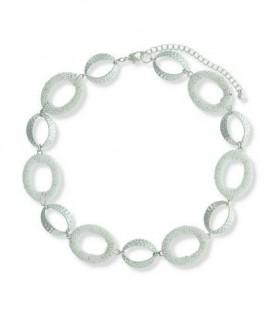 Witte korte metalen halsketting met gekleurde schakels