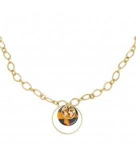 Goudklerige halsketting met bedels, een wereldbol, een luipaardprint en een cirkel