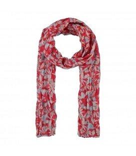 Rode langwerpige sjaal met opdruk