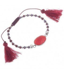 Rode verstelbare armband met kraaltjes, natuurstenen bedel en 2 kwastjes