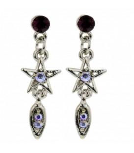 Gekleurde oorbellen met ster en een ovale hanger
