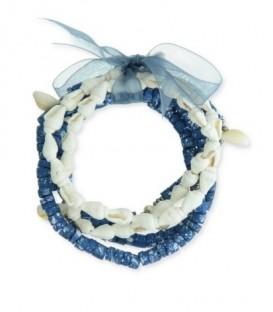 Blauwe armband van 5-rijen met diverse kralen , schelpen en strik