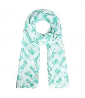 Comfortabele groene dunne sjaal met zilverkleurige luipaardvlekjes
