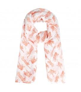 Comfortabele oranje dunne sjaal met zilveren luipaardvlekjes
