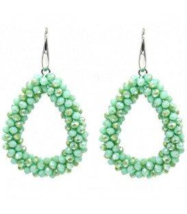 Groene ovale oorbellen van glas kralen