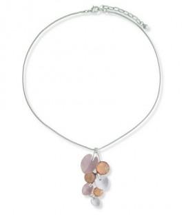A-Zone korte zilverkleur halsketting met hanger in de kleuren paars en oranje