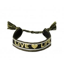 Leuke zwarte geweven armband met de woorden 'live life