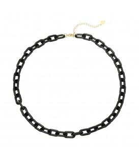 Zwarte halsketting van grote schakels