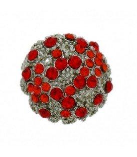 Zilverkleurige verstelbare ring met rode steentjes