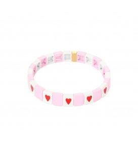 Roze kleurijke armband van metalen kralen met een afbeelding een hartje