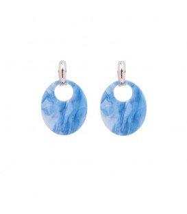 Oorbellen met ovale blauwwitte hanger