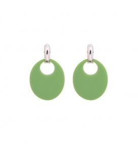 Oorbellen met ovale groene houten hanger