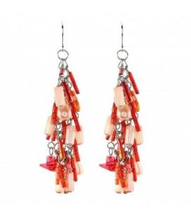 Zilverkleurige oorbellen met rode kraaltjes