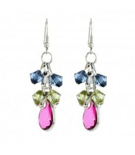 Gekleurde oorbellen met kraaltjes en een druppelvormige hanger