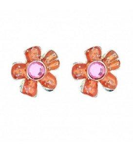Oranje bloem oorbellen met roze steentje