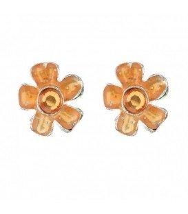 Oranje bloem oorbellen met steentje
