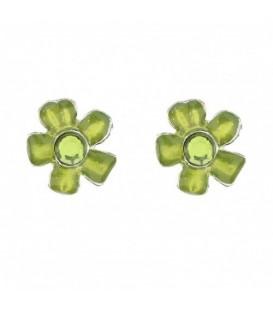 Groene bloem oorbellen met steentje