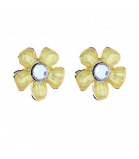 Gele bloem oorbellen met steentje