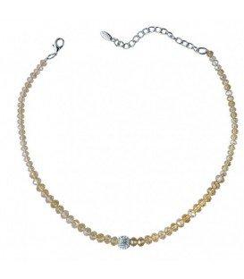 Gele halsketting met facet geslepen glas kralen