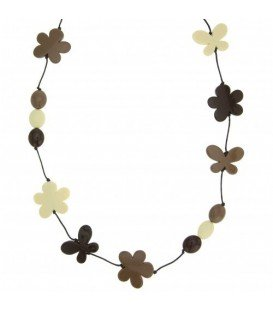 Bruine gekleurde lange halsketting met kralen in de vorm van een bloem