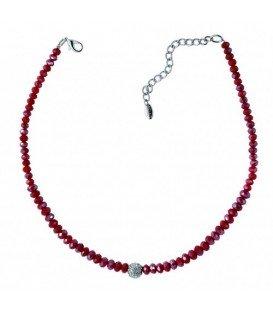 Rode halsketting met facet geslepen glas kralen