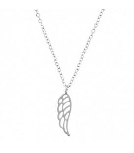 Minimalistische zilverkleurige halsketting met vleugel hanger