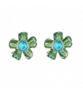 Groene bloem oorbellen met blauw steentje