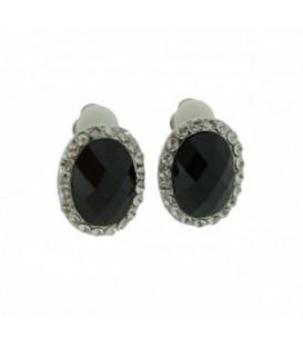 Zwarte oorclips met zilverkleurige strassrand