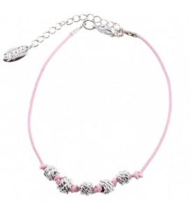 Roze leren armband met metalen kralen