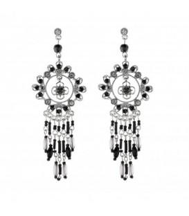 Zilverkleurige oorbellen met bloem , zwarte steentjes en kraaltjes