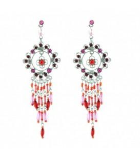 Zilverkelurige oorbellen met bloem hanger, rode en roze steentjes en kraaltjes