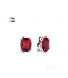 Rode heldere oorclips in zilverkleurige zetting van het merk Fiell
