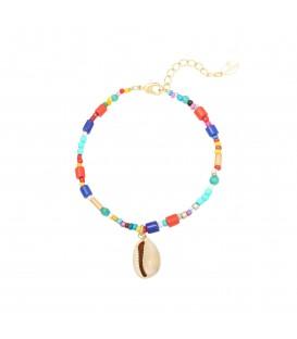 Armband met kleurrijke kralen en schelp