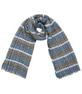 Blauwe sjaal met een geruit patroon
