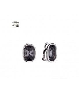 Grijze oorclips met facet steen en een zilverkleurige rand