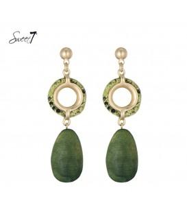 Groene oorbellen met ovale hanger