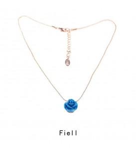 Leuke halsketting met blauw roosje