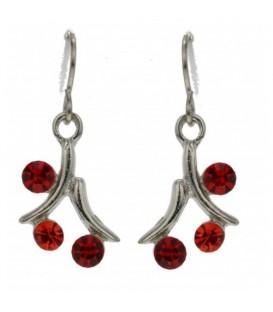 Zilverkleurige oorbellen met rode steentjes