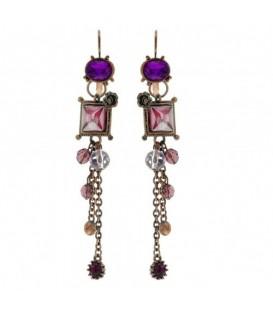 Paarse oorbellen met vierkante hanger en steentjes