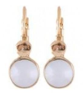 Goudkleurige oorbellen met een heldere strass steen