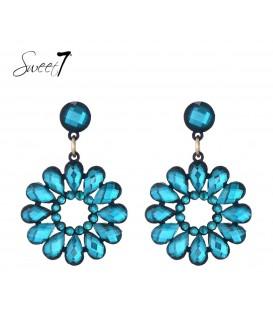 Sweet7 blauwe oorbellen met ronde hanger