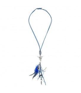 Blauwe halsketting met franje en buffel kop