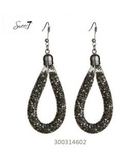 Zwarte ovale oorbellen met strasssteentjes in een netje