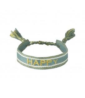 Groene armband met de tekst `Happy`