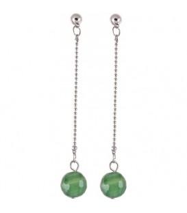 Zilverkleurige lange oorbellen met een natuurstenen groene kraal