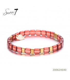 Terra cotta kleurige armband van platte kralen